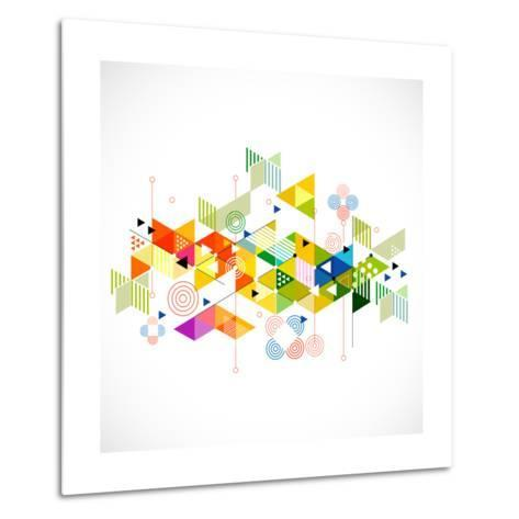 Abstract Colorful and Creative Geometric with a Variety of Geometric Pattern Background, Vector Ill- Studiojumpee-Metal Print
