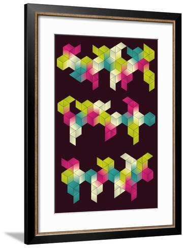 Each Grouping of Cubes and Background are on Separate Layers. Simple Gradients are Used for Color.- Transfuchsian-Framed Art Print