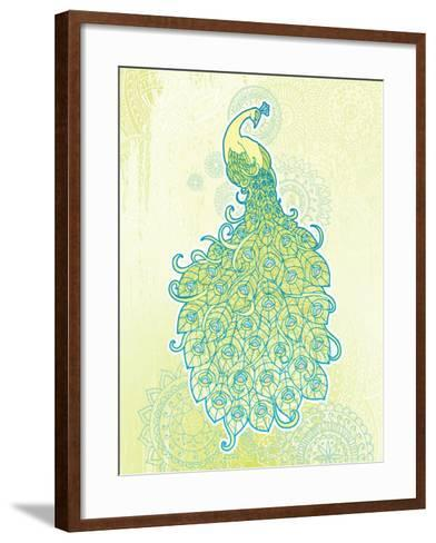 Peacock with Tail Feathers in Front of Detailed Background-artplay-Framed Art Print