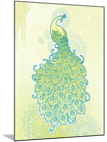 Peacock with Tail Feathers in Front of Detailed Background-artplay-Mounted Art Print