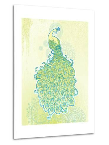 Peacock with Tail Feathers in Front of Detailed Background-artplay-Metal Print
