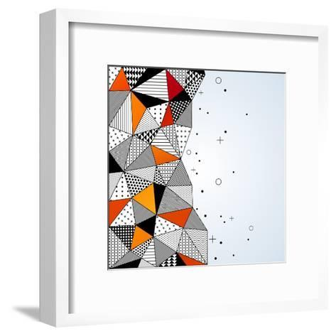 Triangle Pattern Background. Vector Illustration with Space for Text. Contrasting Fashionable Polyg-kotoffei-Framed Art Print