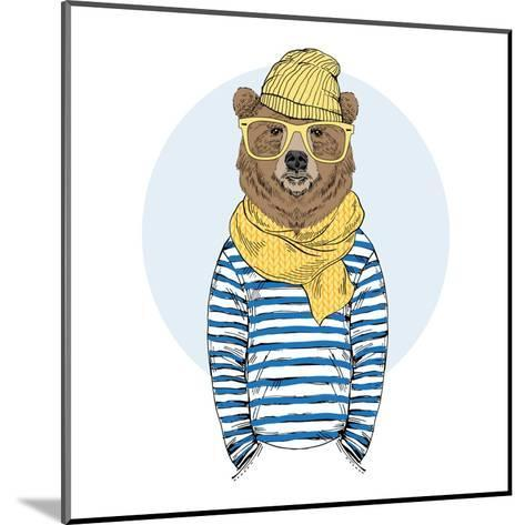 Funny Bear Dressed up in Frock-Olga_Angelloz-Mounted Art Print
