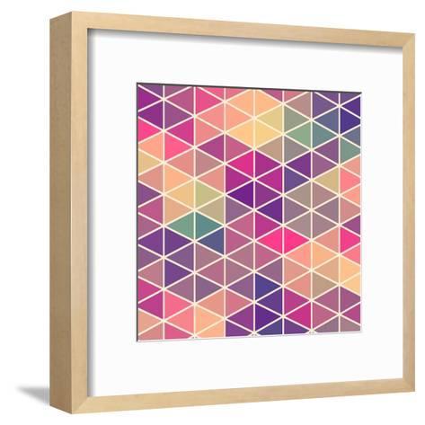 Retro Pattern of Geometric Shapes. Colorful Mosaic Backdrop. Geometric Hipster Retro Background, Pl-Markovka-Framed Art Print
