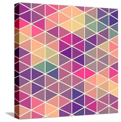 Retro Pattern of Geometric Shapes. Colorful Mosaic Backdrop. Geometric Hipster Retro Background, Pl-Markovka-Stretched Canvas Print