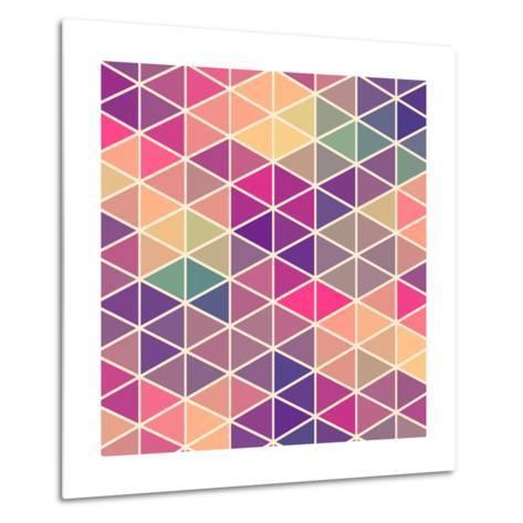 Retro Pattern of Geometric Shapes. Colorful Mosaic Backdrop. Geometric Hipster Retro Background, Pl-Markovka-Metal Print