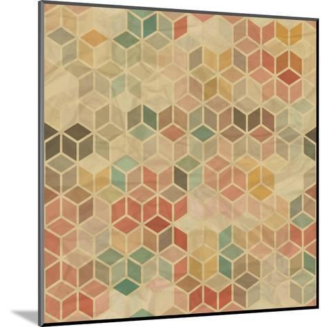 Retro Geometric Cube Pattern-incomible-Mounted Art Print