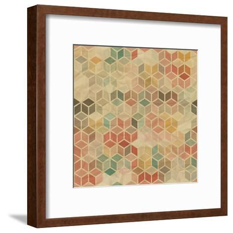 Retro Geometric Cube Pattern-incomible-Framed Art Print