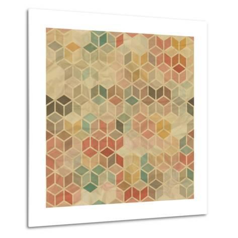 Retro Geometric Cube Pattern-incomible-Metal Print
