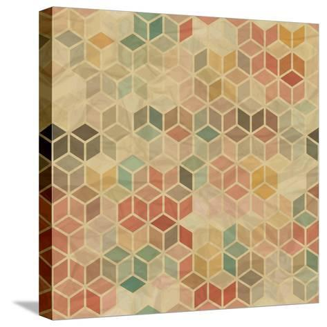 Retro Geometric Cube Pattern-incomible-Stretched Canvas Print
