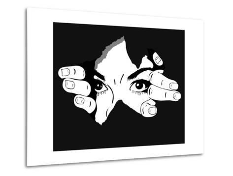 Woman Eyes from the Hole- Artex67-Metal Print