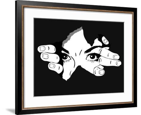 Woman Eyes from the Hole- Artex67-Framed Art Print