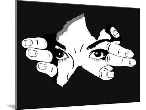Woman Eyes from the Hole- Artex67-Mounted Art Print