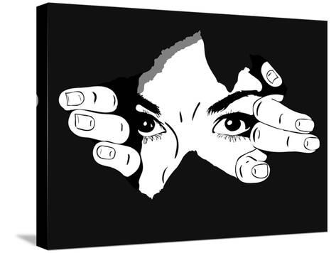 Woman Eyes from the Hole- Artex67-Stretched Canvas Print