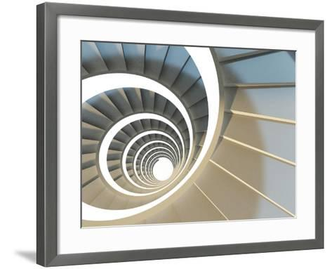 Abstract Endless Spiral Staircase with Soft Shadows. View from Above. 3D-Illustration-Maria Kazanova-Framed Art Print