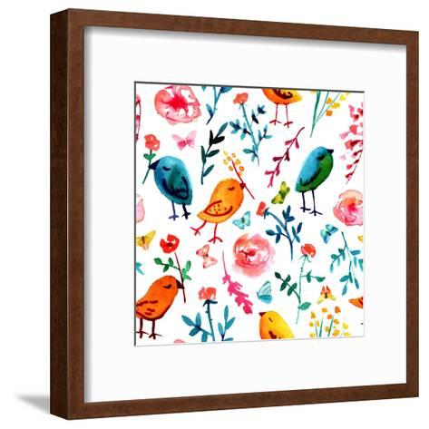 A Seamless Background Pattern with Quirky Watercolor Birds, Butterflies, and Abstract Florals, Hand-Plateresca-Framed Art Print