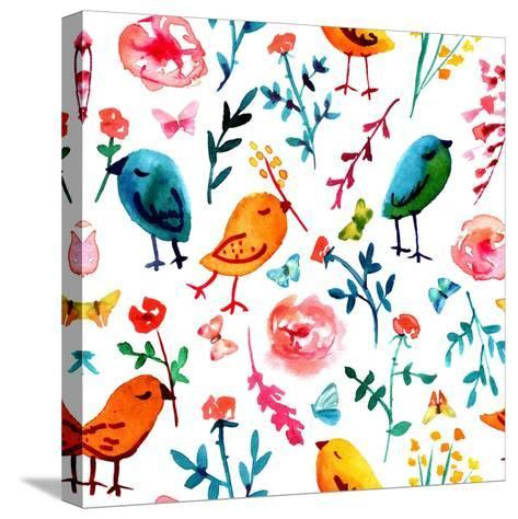 A Seamless Background Pattern with Quirky Watercolor Birds, Butterflies, and Abstract Florals, Hand-Plateresca-Stretched Canvas Print