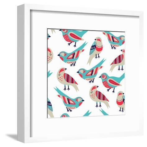 Bird Seamless Pattern- Texturis-Framed Art Print
