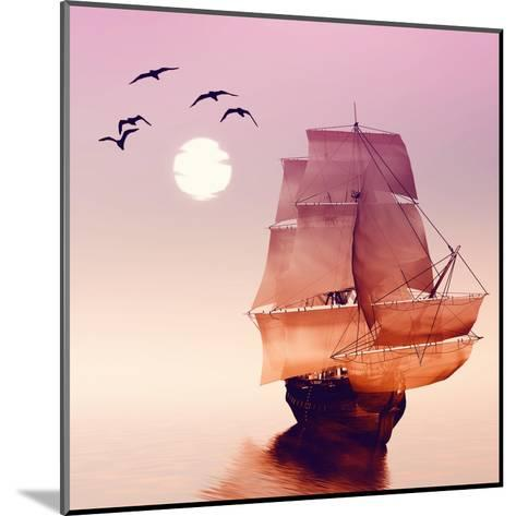 Sailboat against a Beautiful Landscape-Eva Bidiuk-Mounted Art Print