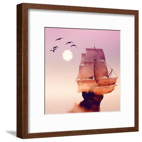 Sailboat against a Beautiful Landscape-Eva Bidiuk-Framed Art Print