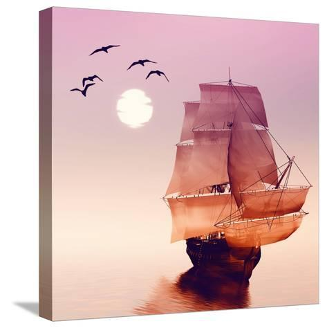 Sailboat against a Beautiful Landscape-Eva Bidiuk-Stretched Canvas Print
