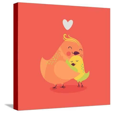Cute Vector Cartoon Decorative Birds Mom and Child Characters Hugging Each Other Smiling. Parents L-Mascha Tace-Stretched Canvas Print