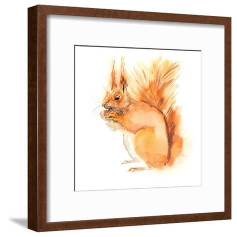 Squirrel Eats. Decoration with Wildlife Scene. Pattern from Forest Inhabitant. Watercolor Hand Draw-Marya Kutuzova-Framed Art Print