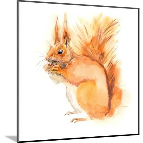 Squirrel Eats. Decoration with Wildlife Scene. Pattern from Forest Inhabitant. Watercolor Hand Draw-Marya Kutuzova-Mounted Art Print
