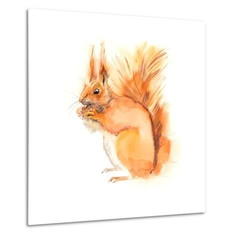 Squirrel Eats. Decoration with Wildlife Scene. Pattern from Forest Inhabitant. Watercolor Hand Draw-Marya Kutuzova-Metal Print