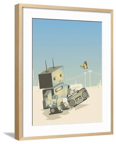 Little Retro Robot with a Boom-Box,Vector Illustration- gudron-Framed Art Print