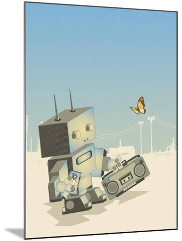Little Retro Robot with a Boom-Box,Vector Illustration- gudron-Mounted Art Print