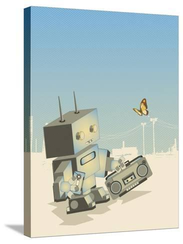 Little Retro Robot with a Boom-Box,Vector Illustration- gudron-Stretched Canvas Print
