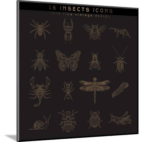Set of Vintage Thin Line Insects Icons. Retro Vector Design Labels, Badges, Graphic Element, Emblem-karnoff-Mounted Art Print