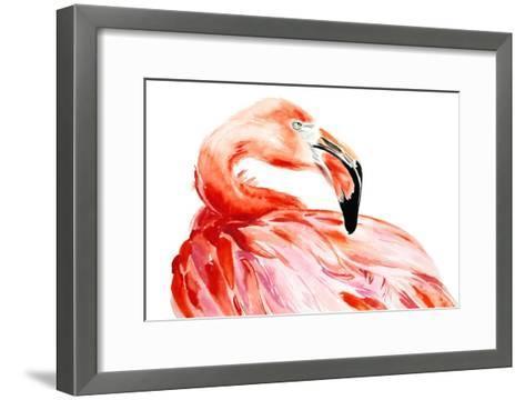 Pink Flamingo Bird Profile Portrait, Amazing Beautiful Animal, Art Print, Watercolor Wildlife Drawi-Antonova Katya-Framed Art Print