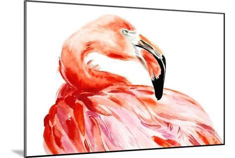 Pink Flamingo Bird Profile Portrait, Amazing Beautiful Animal, Art Print, Watercolor Wildlife Drawi-Antonova Katya-Mounted Art Print