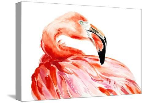 Pink Flamingo Bird Profile Portrait, Amazing Beautiful Animal, Art Print, Watercolor Wildlife Drawi-Antonova Katya-Stretched Canvas Print
