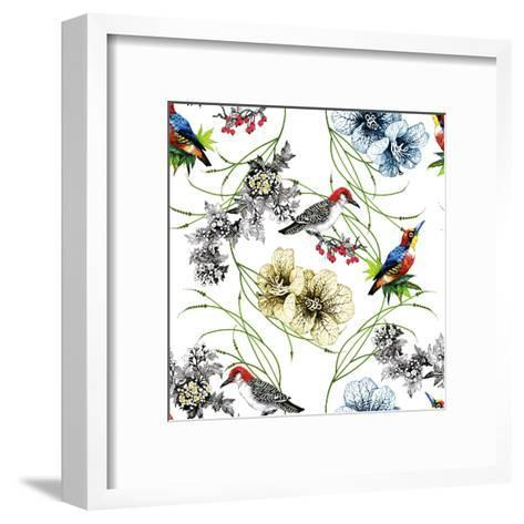 Watercolor Hand Drawn Seamless Pattern with Tropical Summer Flowers and Exotic Birds on White Backg-KostanPROFF-Framed Art Print