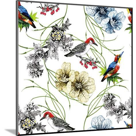 Watercolor Hand Drawn Seamless Pattern with Tropical Summer Flowers and Exotic Birds on White Backg-KostanPROFF-Mounted Art Print