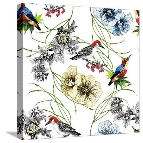 Watercolor Hand Drawn Seamless Pattern with Tropical Summer Flowers and Exotic Birds on White Backg-KostanPROFF-Stretched Canvas Print