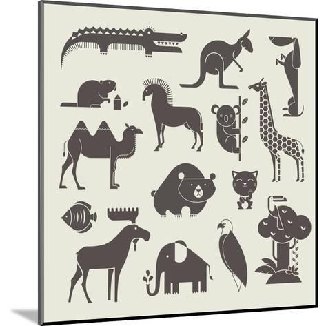 Vector Animals Set-vector pro-Mounted Art Print