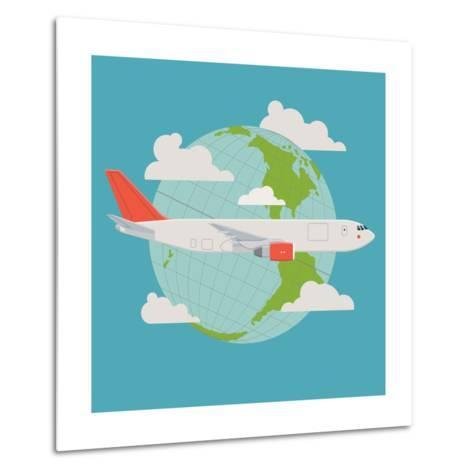 Vector Modern Delivery Web Icon on Flying Transport Freight Cargo Jet Airliner Plane, Flat Design,-Mascha Tace-Metal Print