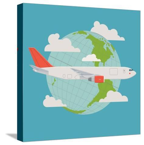 Vector Modern Delivery Web Icon on Flying Transport Freight Cargo Jet Airliner Plane, Flat Design,-Mascha Tace-Stretched Canvas Print