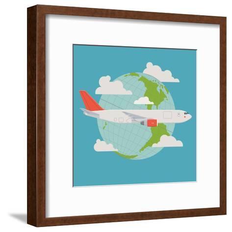 Vector Modern Delivery Web Icon on Flying Transport Freight Cargo Jet Airliner Plane, Flat Design,-Mascha Tace-Framed Art Print
