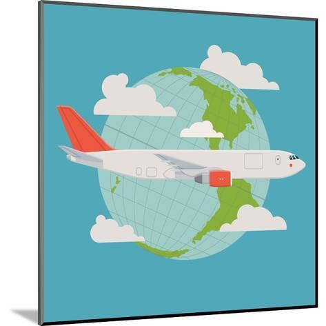 Vector Modern Delivery Web Icon on Flying Transport Freight Cargo Jet Airliner Plane, Flat Design,-Mascha Tace-Mounted Art Print