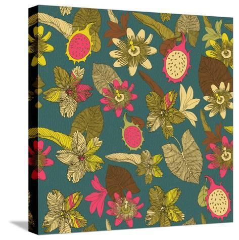 Tropical Flowers with Dragon Fruit Pattern-zolssa-Stretched Canvas Print