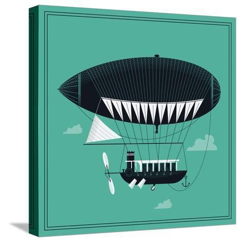Lovely Vector Airship Illustration | Fairytale Dirigible Floating in the Sky Stylish Decorative Des-Mascha Tace-Stretched Canvas Print