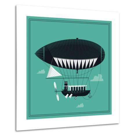 Lovely Vector Airship Illustration | Fairytale Dirigible Floating in the Sky Stylish Decorative Des-Mascha Tace-Metal Print