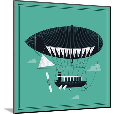 Lovely Vector Airship Illustration | Fairytale Dirigible Floating in the Sky Stylish Decorative Des-Mascha Tace-Mounted Art Print