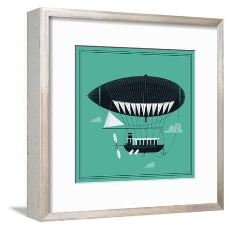 Lovely Vector Airship Illustration | Fairytale Dirigible Floating in the Sky Stylish Decorative Des-Mascha Tace-Framed Art Print