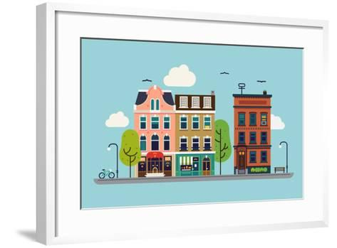 Lovely Colorful City Downtown Landscape with Various Townhouses, Trees, Clouds and Other Urban Deta-Mascha Tace-Framed Art Print